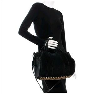 alexander wang black suede rocco bag